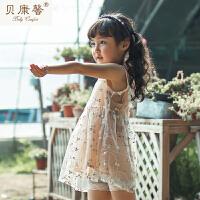 [当当自营]贝康馨 2017夏季新款女童纯棉双层碎花背心裙