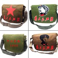 帆布包单肩包斜挎背包*书包为人民服务男复古包军绿色