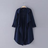 577 女装 秋季新款简约纯色翻领无扣可卷长袖女式外套风衣