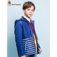 【3件3折:128.7元】暇步士童装冬季新款男童厚风衣外套时尚撞色连帽厚风衣儿童风衣外套