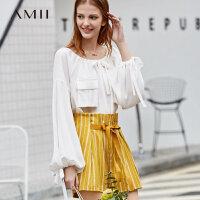 【到手价:177元】Amii极简仙气时尚雪纺衫女2019秋季新款均码配抽绳大口袋宽松上衣