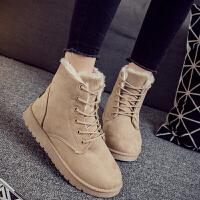 雪地靴 女士韩版时尚雪地靴2020新款马丁短靴短筒平底棉鞋学生靴子棉靴女鞋子