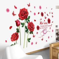 浪漫温馨墙纸自粘墙贴纸贴画卧室房间床头背景墙装饰布置玫瑰贴花