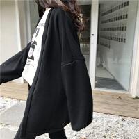 开衫中长款外套女春装新款韩版宽松显瘦纯色百搭长袖针织衫上衣