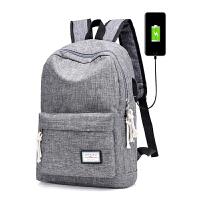 新款双肩包韩版潮男女背包初中小学生书包电脑包大容量休闲旅行包 灰色 112