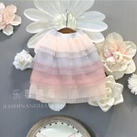 2018中小童韩版童装女童夏季新款甜美彩虹多色蛋糕裙半身裙长裙子