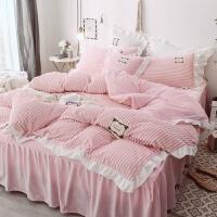 床上四件套冬季珊瑚绒法兰绒双面绒三件套被套床单床裙加厚水晶绒