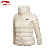 李宁羽绒服女子BAD FIVE篮球冬季保暖短款无帽运动服外套AYML032