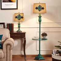 【限时7折】美式落地灯 客厅欧式复古卧室床头台灯带桌子茶几置物托盘落地灯