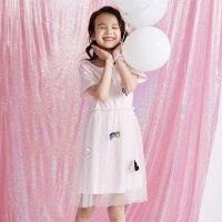 【1件4折到手价:67.6】moomoo童装2019新款女童迪士尼甜美网纱连衣裙