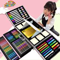 水彩笔安全无毒可水洗儿童水彩画笔套装彩笔颜色笔幼儿园宝宝彩色笔美术学生蜡笔24绘画套装水溶性画画笔工具