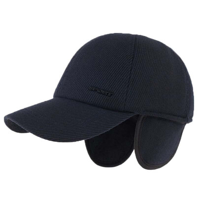 冬天男士帽子保暖户外休闲中老年鸭舌护耳棒球帽  全封可调节55-60cm帽檐7.3cm