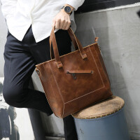 疯马皮男包单肩包男斜挎包男休闲商务韩版男士包包手提包斜跨潮 咖啡色