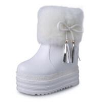 棉鞋子女跟短靴雪地棉靴毛毛女靴内增高厚底白色保暖加绒冬靴真皮