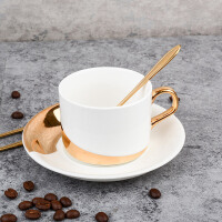 欧式咖啡杯 金边陶瓷咖啡杯子 陶瓷咖啡杯碟配带勺
