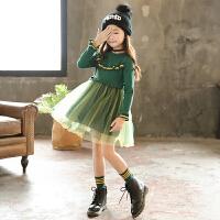 女童毛衣裙子公主裙秋冬款韩版中大儿童长袖针织连衣裙网纱蓬蓬裙