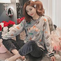 珊瑚绒睡衣女士冬季保暖字母甜美可爱秋冬天法兰绒家居服套装