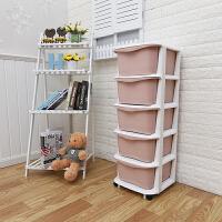 加厚塑料组装抽屉式收纳柜整理储物客厅衣物5层儿童玩具宝宝婴儿 纯色马卡龙红 收纳柜