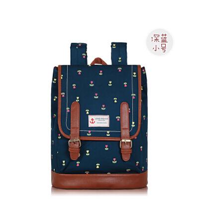 韩国帆布双肩包女原宿校园街拍背包韩版森系高中学生书包 深蓝小号 一般在付款后3-90天左右发货,具体发货时间请以与客服协商的时间为准