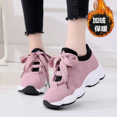 加绒运动鞋女2018新款秋冬季韩版原宿ulzzang百搭学生休闲跑步鞋 粉红色 加绒  走进大自然的怀抱,美丽从这里起步。