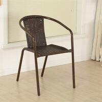 户外大藤椅家用电脑椅子扶手椅铁艺圈椅椅坐椅塑料靠背椅餐椅 PE藤咖啡色大藤椅2把起拍一把不发货