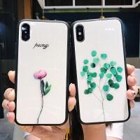 苹果6splus玻璃手机壳7plus全包i6女款8plus新款小清新文艺仙iphone xs max