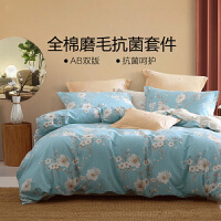 水星出品 百丽丝家纺 抗菌磨毛全棉三/四件套印花床单被套居家床上用品 黛色绯梦