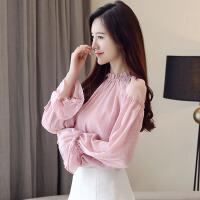 秋装女装2018新款潮喇叭袖粉色雪纺衬衫秋季长袖上衣服娃娃衫
