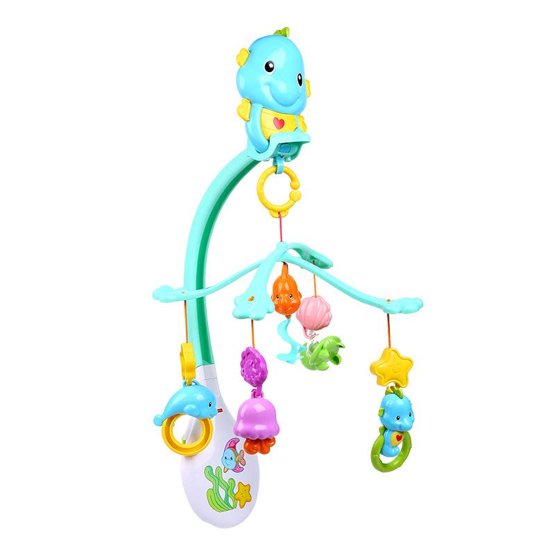 海马安抚床铃 婴儿床挂件玩具 宝宝床头旋转音乐床铃 抖音 +环形硅胶牙胶