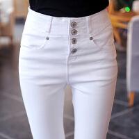 秋季高腰弹力白色裤子女学生韩版牛仔小脚铅笔裤女大码打底裤外穿