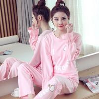 睡衣女春秋季长袖长裤韩版甜美可爱少女秋天可外穿家居服套装