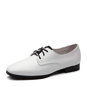 Teenmix/天美意2018春专柜同款牛皮绣花方跟系带鞋女单鞋CCM20AM8