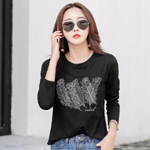 女士秋装体恤秋季新款韩版百搭宽松刺绣长袖t恤打底衫上衣服