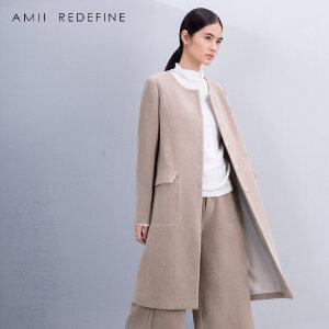 [AMII东方极简] JII AMII冬装新款纯色文艺米色大码羊毛呢子外套大衣女中长款外套