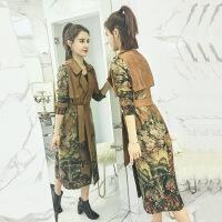 风衣女中长款韩版春季2018新款过膝显瘦气质麂皮绒修身印花外套潮 图片色