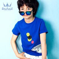 水孩儿souhait短袖新款男童T恤上衣时尚个性半袖潮AQAXM568