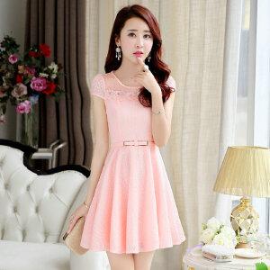 夏装2018新款女韩版修身显瘦A字裙中长款小个子蕾丝连衣裙女装潮