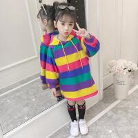 女童卫衣中长款加绒加厚2018新款韩版潮洋气童装中大儿童秋冬上衣 多彩卫衣