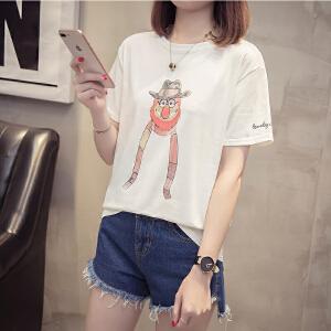 卡通短袖t恤女夏宽松2018新款女装韩版纯棉打底衫韩范时尚潮上衣