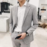 №【2019新款】冬天穿的西服套装男韩版潮流修身小西装英伦休闲结婚礼服两件套薄