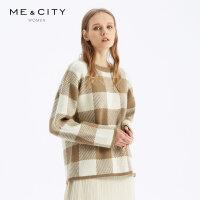 【2件1.5折价:119.9,可叠券】羊毛MECITY女装2019冬季新款商务貂毛格纹打底针织衫