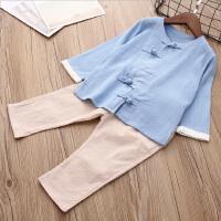 儿童春装套装女童汉服中国风男童唐装复古棉麻上衣童裤两件套童装