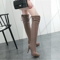新款过膝靴女长靴冬长筒靴尖头防水台女靴子加绒细跟高跟鞋高筒靴SN2962 33 小码定制