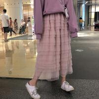 2019春夏蛋糕蕾�z半身裙 女高腰荷�~�百褶仙女蓬蓬a字�W�中�L裙