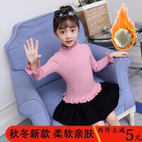 新款女宝宝加绒套头纯色毛衣女童花边针织打底衫中大童装保暖上衣