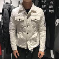 飞行员羽绒服男2018冬季短款青年牛仔款轻薄韩版潮流帅气刺绣外套