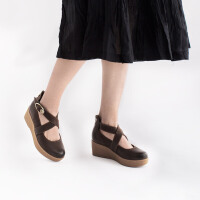 青婉田森系鞋坡跟单鞋女真皮玛丽珍鞋文艺复古女鞋厚底鞋女松糕底