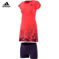 adidas阿迪达斯女子羽毛球连衣裙连身裙 运动短裙速干透气凉爽针织显瘦