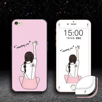 苹果iphone6手机壳4.7寸防摔IPhone6S钢化膜ipone6S软胶A1586保护套 me you女孩【送同款钢化膜】