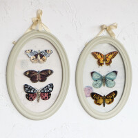 美式法式田园风格椭圆玻璃蝴蝶装饰画背景墙壁画家居装饰品壁挂